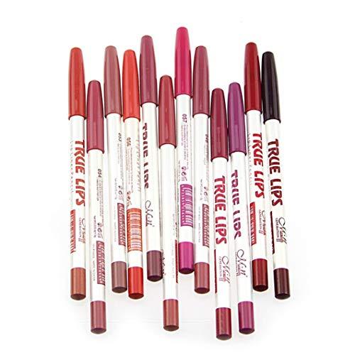 CINEEN Set di 12matite per labbra in colori diversi, impermeabili, matite per contorno labbra, rossetti, lunga tenuta, con coperchio