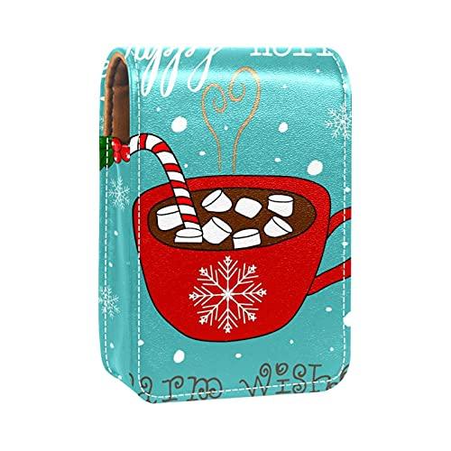 Astuccio per rossetto ColorMu con custodia per trucco a specchio Christmas Coffee Candy Cane per le donne uscire a portare