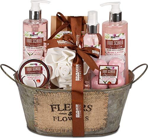 BRUBAKER Cosmetics set beauty da bagno e doccia 'Latte di cocco e fragola' - Confezione regalo in 11 pezzi presentati in una mini vasca da bagno Vintage