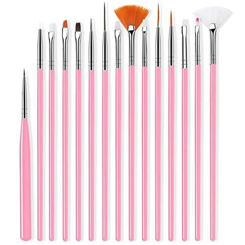 Set di Pennelli per Unghie,Nail Art Pennelli Smalto,Pennelli per Unghie Art Design Brush,Pennarello per Nail Art in Nylon,Strumento Ideale per Unghie (Rosa)