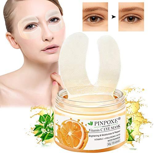 Maschera per gli occhi, Cuscinetti in collagene, Eye Patch, Maschera per gli occhi in vitamina C, per borse per occhi gonfi, cerchi scuri e rughe, con collagene, acido ialuronico, 50 pezzi