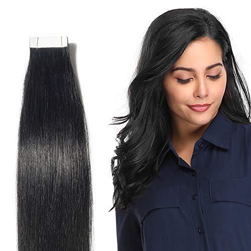 45cm Extension Adesive Capelli Veri Neri Tape in - 50g 20 Fasce #01 Jet Nero - 100% Remy Human Hair Lisci Umani Lunghi con Biadesivo