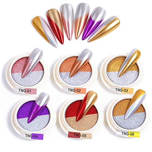 BISHENGYF pigmenti in polvere cromata a doppio colore, effetto specchio, per nail art, colori sfumati, per decorazione unghie (6 scatole)