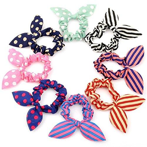 Miya® Set Super dolce Bunny orecchio elastico per capelli, a pois, a righe, a quadri, bella capelli Accessories, di alta qualità, Fascia per capelli Coda di cavallo titolare