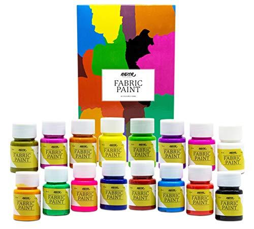 Colori per Tessuti e Vestiti Permanenti Nazca Colors – Set 16 Colori x 30 ml – Pittura Acrilica per Stoffa ideale per Dipingere Abbigliamento, Magliette, Borse, Jeans e qualsiasi Accessori Tessili