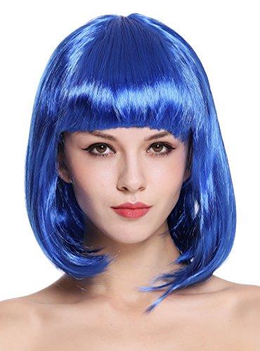 WIG ME UP - 0073-3-PC3 Parrucca Donna Carnevale Bob Lungo Bob Altezza Spalle Liscia Frangetta Blu