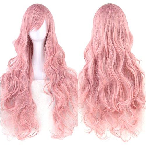 Fouriding 31.5'/ 80cm Parrucche Cospaly Donna Lungo Ricci Capelli Ricci Lunghi Anime di Bangs Completa Sexy Parrucche (Rosa)