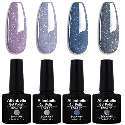 Allenbelle Smalto Semipermanente Nail Polish UV LED Gel Unghie (Kit di 4 pcs 7.3ML/pc) (3302)