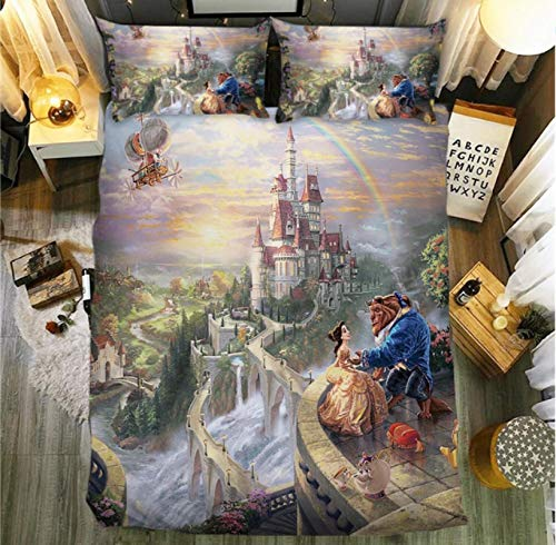 Vscdye Set Copripiumino Beauty And The Beast 3D Cartoon Queen King Size Twin Full Double Kid Adult Bedding Set200X200Cm