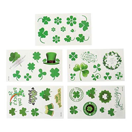 Amosfun 50Pcs Adesivi per Acetosella Tatuaggi Quadrifogli Adesivi Tatuaggi Temporanei St. Patricks Day Patricks Day Trifoglio Irlandese Shamrock Accessori per La Decorazione Del Partito