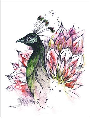 Adesivo Per Tatuaggi Temporanei Per Uomo Adulto Donna Fiore Rosa Uccellino Bambini Impermeabile Finto Body Art Cover Up Set Anchor Graphic 21X15Cm 5 Pcs