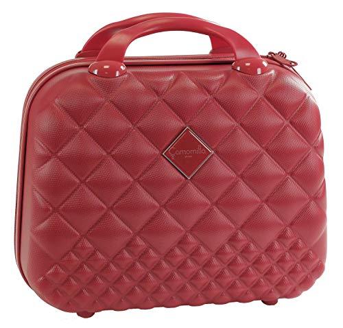 Vanity Beauty case da viaggio, semirigido, effetto matelassè, Rosso