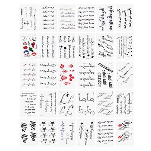 Amosfun adesivi per tatuaggi temporanei impermeabile tatuaggi temporanei body art sticker alfabeto lettera decalcomanie per uomo donna 30 pezzi (modello 2)
