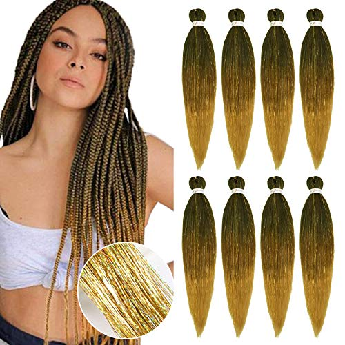 YMHPRIDE 8 pezzi pre-allungati Yaki professionale intrecciare i capelli Perm 26 pollici con fili glitterati fibra sintetica Crochet intrecciare i capelli Extension(1B/30/27# con Gold Tinsel)