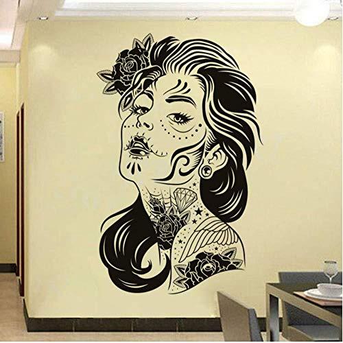 Autoadesivo Della Parete Del Tatuaggio Floreale Della Donna, Decorazione Della Casa Rimovibile Adesivo Adesivo Murale Carta Da Parati Murale 44X68 cm
