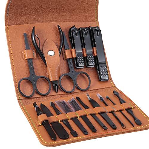 Tagliaunghie Set Professionale - Grooming Kit Strumenti per Manicure e Pedicure 16pcs con Lussuosa Custodia da Viaggio in Pelle (Marrone)