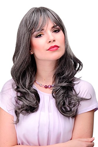 WIG ME UP - Parrucca Donna Wig Grigio Mix di grigio e castano scuro Ricci definiti Ondulata circa 55 cm Lunga Naturale 3001-44