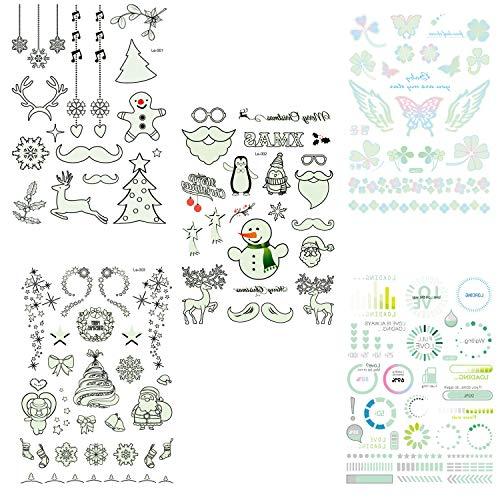SOFIALXC Natale Glow in The Tattoo Scuro, Luminosi di Tatuaggi Adesivi Impermeabile del Fumetto del Fiocco di Neve del Tatuaggio per I Rifornimenti del Partito dei Capretti Rewards 5pcs-F