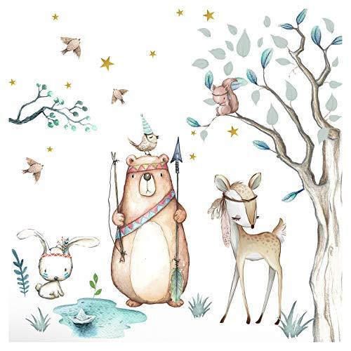Little Deco Adesivo da parete con animali della foresta e orso, 162 x 141 cm (larghezza x altezza), motivo: albero di coniglio e stelle, per cameretta dei bambini, DL505
