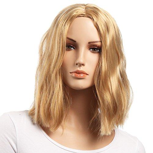 Breve Parrucche Bionda BOB Parte media Stile popolare Parrucca di platino 14 pollici Estensioni sintetiche Kanekalon Garanzia 1 mese (NATURAL WAVE-1)