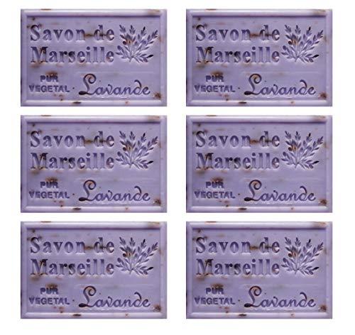 Piccolo stock 6 pezzi Sapone di Marsiglia 125 g all'olio essenziale di Lavanda Sapone provenzale 6 x 125 g con fiori