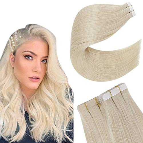 Easyouth Hair Extension Tape in Human Hair Seamless Capelli Naturali Extension Colore Bionda Platino 18Pollici 40g 20pcs Tape in Invisible Hair Extension