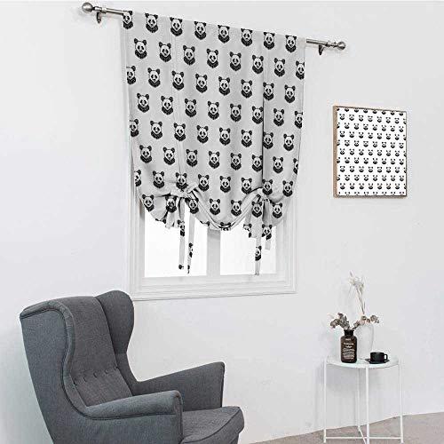 GugeABC - Tatuaggio per finestre con motivo a forma di panda stilizzato, orso e ritratti, per bambini, in bianco e nero, 88,9 x 162,6 cm