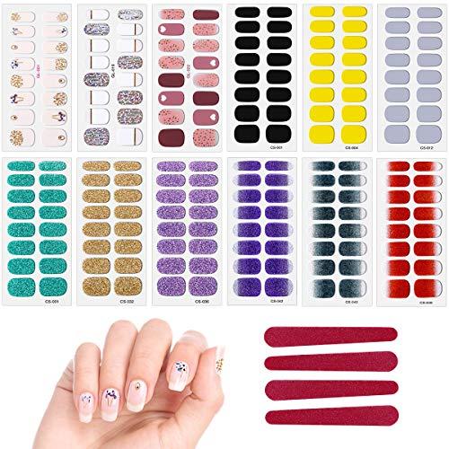 12 Fogli Adesivi Unghie Adesivi per Nail Art Decalcomania per Unghie Smalto Strisce per Donna Ragazze Bomboniere, con 4 Pezzi Lime di Unghie