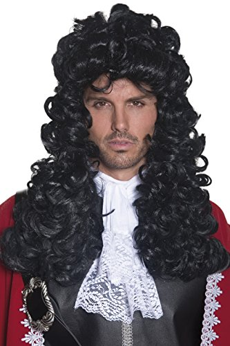 SMIFFYS Smiffy's Parrucca da Comandante dei Pirati, Nera, Lunghi e Ricci Uomo, Nero, Taglia unica, 42041