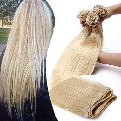 Elailite Extension Tessitura Capelli Veri Matassa Una Ciocca 100g 50cm Unprocessed Human Hair Brasiliani Naturali Lisci # Biondo Chiarissimo