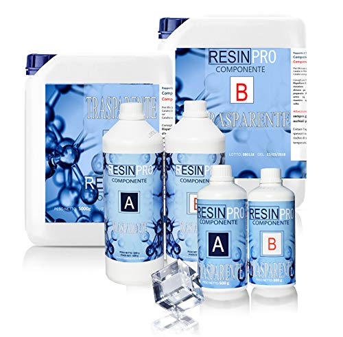 Resin Pro - Resina Epossidica Trasparente Atossica 1.6 KG - Resina + Indurente, Effetto Acqua, Lucida, Creazioni Artistiche, Restauro, Rivestimento Superfici, Modellismo, DIY + Guanti in Nitrile