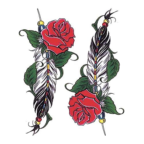 5 fogli di colore rosa piuma impermeabile femminile tatuaggio temporaneo adesivi