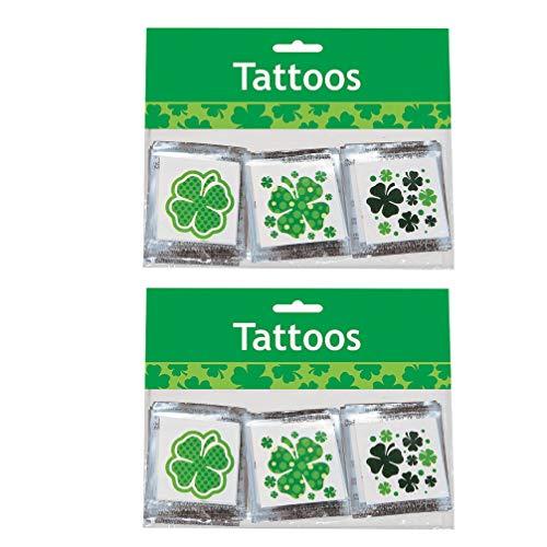 Lurrose st. festa di San Patrizio favorisce tatuaggi temporanei adesivi per il corpo del viso decalcomanie quadrifoglio puntelli foto fortunati per festival irlandesi forniture per feste 2 set