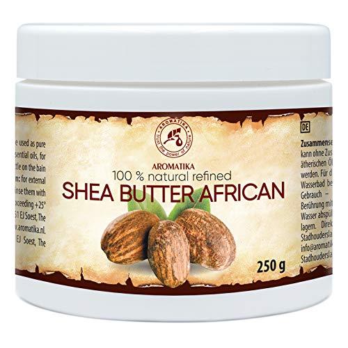 Burro di Karité 250g - Raffinato - Ghana - Naturale e Puro al 100% - Spremuto a Freddo - Shea Butter Africano - Il meglio per i Capelli - Pelle - Viso - Cura del Corpo - Burro di Karité