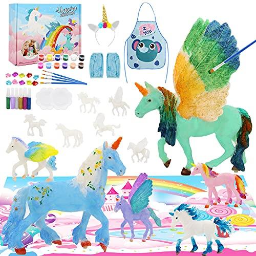 SUNACE Regalo Ragazza - Unicorno Giocattolo DIY Pittura Unicorno Kit con Pennelli, Pittura, Gemme Adesive in Omaggio Gioco di Pittura Hobby e creatività Passatempi per Ragazze Ragazzi
