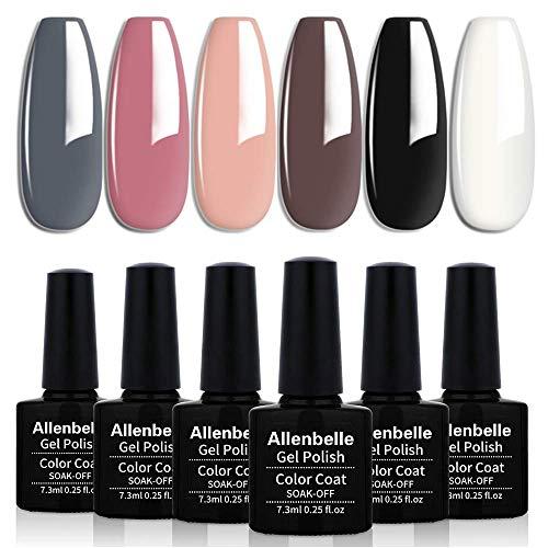 Allenbelle Smalto Semipermante Per Unghie Kit In Gel Uv Led Smalti Semipermanenti Per Unghie Nail Polish UV LED Gel Unghie(Kit di 6 pcs 7.3ML/pc) (013)