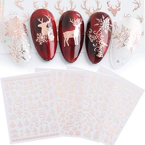 JMEOWIO 9 Fogli Adesivi per Unghie Natalizi 3D Nail Stickers Autoadesivi Unghie Natale Natalizio Decalcomanie Decorazione Unghie Nail Art Adesivi Unghie Natale Fai da Te (Oro)
