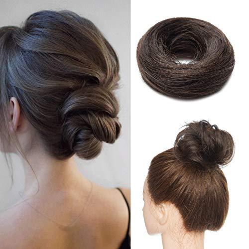 Silk-co Chignon Capelli Veri Extension Ciambella con Elastico Voluminoso Hair Bun Updo Crocchia Capelli Lisci 17g #2 Marrone Scuro