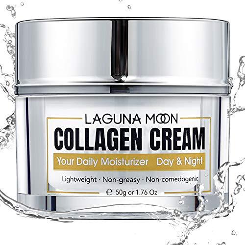 Crema al collagene Lagunamoon per viso, crema viso giorno e notte con collagene idrolizzato, acido ialuronico, vitamina E per idratare e nutrire la pelle, 1,76 once