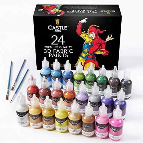 Castle Art Supplies 3D Fabric Paint set–24Premium vivaci colori grasso perfetto per abbigliamento, tela, vetro e legno–29ml per bottiglia, non tossico, sicuro per bambini