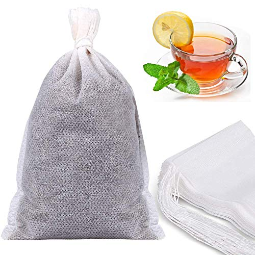 200 sacchetti vuoti usa e getta per tè, caffè, cotone con chiusura a cordoncino, per spezie, erbe e polvere di erbe (9,9 x 7,9 cm)