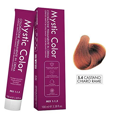 Mystic Color - Colore Castano Chiaro Rame 5.4 - Tinta per Capelli - Colorazione Professionale in Crema a Lunga Durata - Con Cheratina Idrolizzata, Olio di Argan e Calendula - 100 ml