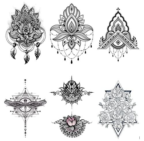 6 fogli di tatuaggi Underboob, tatuaggi al seno, motivo floreale, set da 6