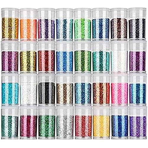 Glitter Polvere 32 Colori Set di Polvere Glitter Decorazioni, paillettes per unghie per Faccia,Trucco, Costumi, Pittura,Nail Art,Ecc