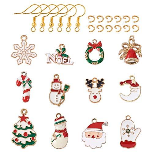 24 ciondoli natalizi smaltati con 12 orecchini pendenti a forma di Natale, con ganci per orecchini e anello per creare gioielli fai da te