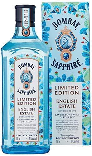 Bombay Sapphire London Dry Gin, English Estate Limited Edition con Astuccio, con Botaniche di Rosa Canina, Menta Pennyroyal e Nocciola, 70 cl