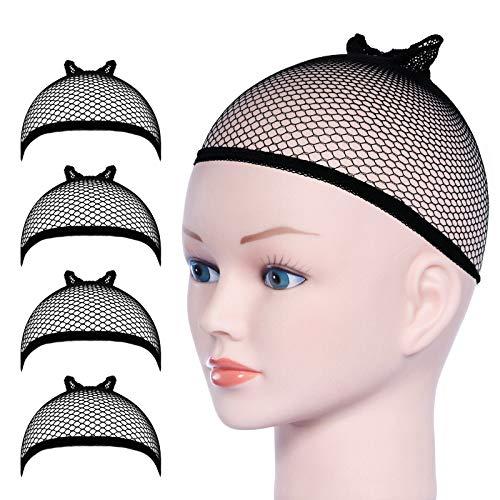 URAQT Parrucca Tappi, 4 Pezzi Calotte per Parrucche di Nylon, Unisex Copricapo Elastici a Rete, Copricapo di Parrucche per Uomini e Donne, nero