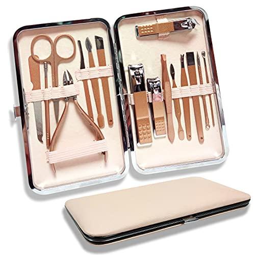 16 pezzi/set Manicure e Pedicure Set Yummici, Kit manicure professionale, Tagliaunghie Set con acciaio inossidabile,Grooming,per donna e uomo,regalo perfetto