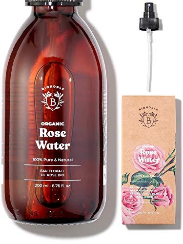 ACQUA DI ROSE BIO | Idrolato di Rosa Damascena 100% Puro e Naturale | Senza Alcool Aggiunto, Senza Conservanti | Viso, Contorno Occhi, Corpo, Capelli | Rose Water | Bottiglia di Vetro + Spray (200ml)