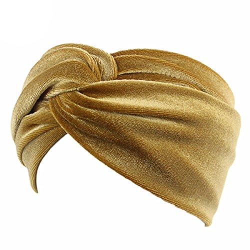 Tukistore - Fascia per capelli da donna, in velluto, incrociata, elastica, turbante gold Taglia unica